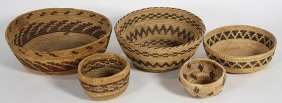 (lot Of 5) Central California Native American Baskets