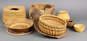 (lot Of 9) Native American Basketry Group