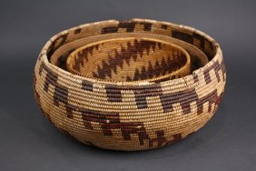 (lot Of 3) Native American Central California Basketry