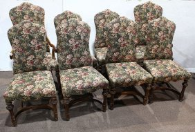 (lot Of 8) Renaissance Revival High Back Dining Chairs