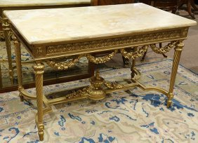 Louis Xvi Style Giltwood Carved Console Table