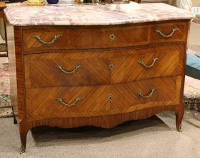 Louis Xv Style Marble Top Marquetry Inlaid Commode
