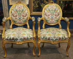 Pair Of Louis Xv Style Giltwood Fauteuils