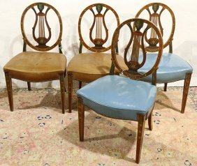 Edwardian Partial Painted Satinwood Side Chairs