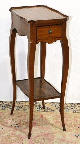 Louis Xv Provincial Fruitwood Inlaid Occasional Table