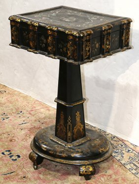 Victorian Papier Mache Sewing Box On Stand