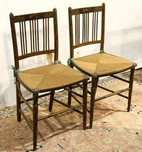 Pair Of Regency Style Paint Decorated Music Chairs