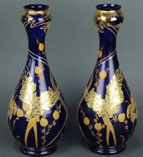 (lot Of 2) Moser Gilt And Cobalt Vases