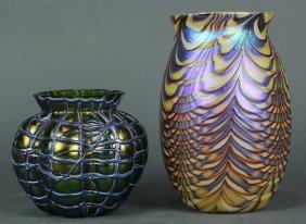 (lot Of 2) Art Glass Vase Group
