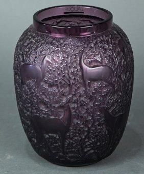 "Lalique ""biches"" Aubergine Glass Vase"