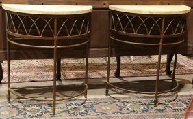 Pair Of Italian Moderne Demilune Console Tables