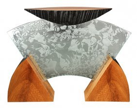 Charles B. Cobb Plate Glass And Exotic Wood Console