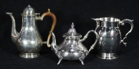 Continental Silver Pitcer, Cofee Pot, Teapot