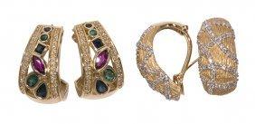 (lot Of 2) Multi-stone, Diamond And 14k Yellow Gold