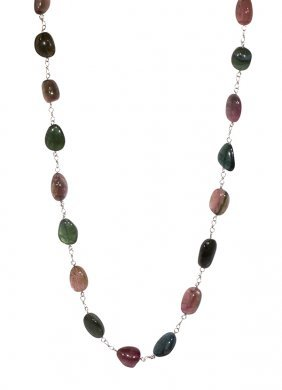 Tourmaline And 18k White Gold Necklace