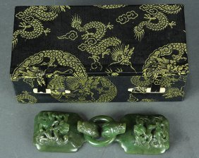 Chinese Spinach Jade Belt Hooks