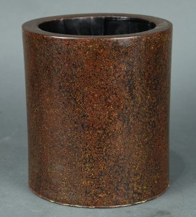 Chinese Mottled Lacquer Brush Pot
