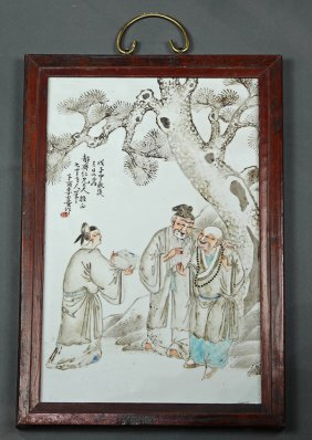 Chinese Porcelain Plaque, Scholars/monk
