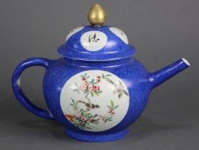 Chinese Blue Sgraffito Porcelain Teapot