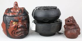 Japanese Lacquered Wooden Container, Iron Pot Warmers