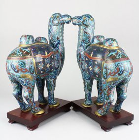 Two Chinese Cloisonne Camels