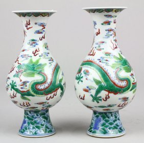 Two Chinese Doucai Dragon Vases