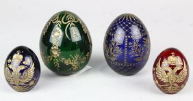 (lot Of 4) Russian Lead Crystal Eggs, Executed In Red,