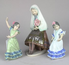 (lot Of 3) Antonio Ramos For Lladro Porcelain Figures,
