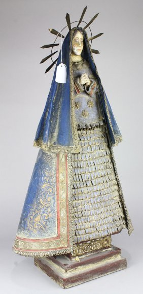 Continental Papier Mache Santos Figure Depicting Mary,