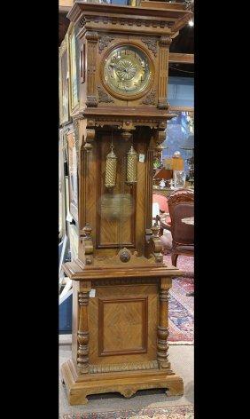 Dutch Tall Case Clock, Having A Carved Walnut Case,