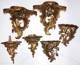 (lot Of 6) Three Pairs Of Louis Xv Style Giltwood
