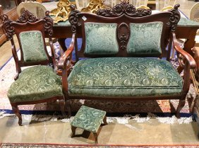 (lot Of 3) Rococo Style Parlor Suite Including A Side