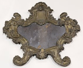 Rococo Style Patinated Metal Looking Glass