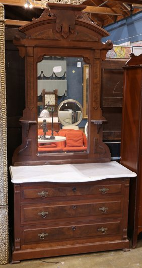 American Late Victorian Dresser, With A Marble Top,