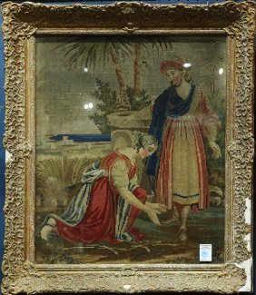 Framed Needlepoint Depicting A Woman Washing Jesus'