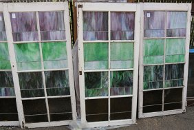 (lot Of 6) Victorian Slag Glass Windows