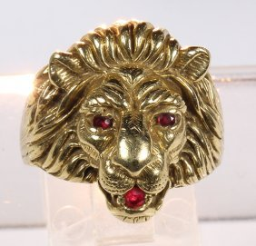 Ruby And 14k Yellow Gold Lion Head Ring