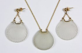 Rock Crystal Quartz And 14k Yellow Gold Jewelry Suite