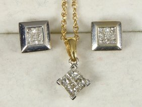 Diamond And 14k Gold Jewelry Suite