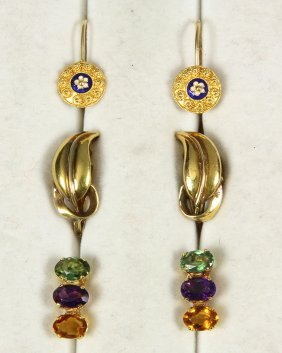 (lot Of 3) Multi-stone, Enamel And 14k Yellow Gold