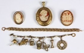 (lot Of 5) Shell Cameo, Cultured Pearl, Gold-filled And
