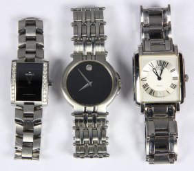 (lot Of 3) Diamond And Steel Wristwatches