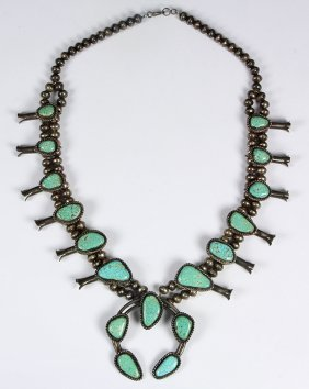 Native American Turquoise And Silver Squash Blossom