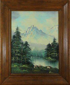 Painting, Mountain Lake In Summer