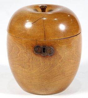 English Treenware Pear Wood Tea Caddy, Circa 1780,