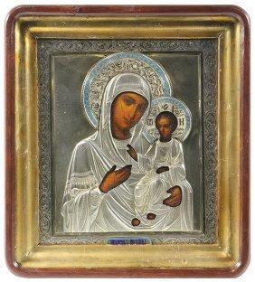 Russian Khlebnikov Enamel Decorated Icon, Depicting