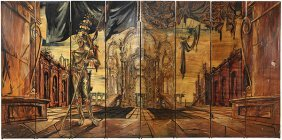 (lot Of 2) Pair Of Tony Duquette Four Panel Screens,