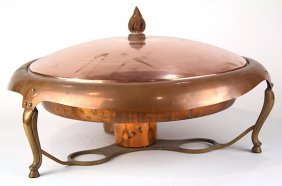 J.c. Moore, Late 19th Century Copper Chafing Dish