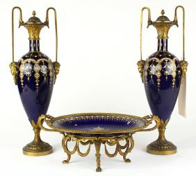 (lot Of 3) French Louis Xv Style Gilt Bronze And Enamel