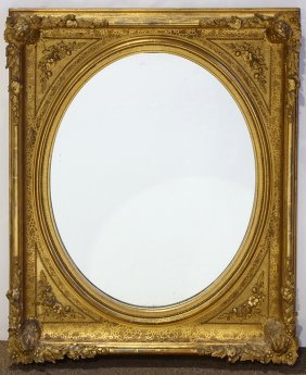 Continental Water Or Lemon Giltwood Framed Mirror,